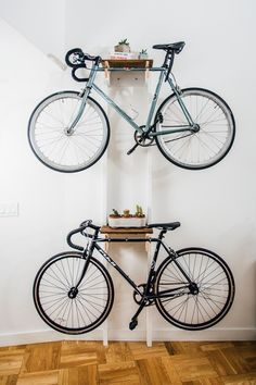 Jacob's DIY project features a few more steps than most of the projects we feature, but just look at the super cool result! If you're a small space dwelling - bike owning - handy-person, this may be the project for you... Skill Level: Moderate Time Required: 5 hours Project Cost: $150