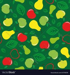 Apple and pear seamless pattern on green background. Download a Free Preview or High Quality Adobe Illustrator Ai, EPS, PDF and High Resolution JPEG versions.