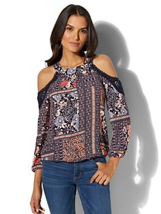 Shop Mixed-Print Cold-Shoulder Blouse. Find your perfect size online at the best price at New York & Company.