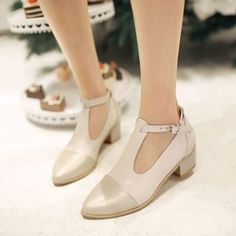 Girls Vintage Shoes Ladies High Heels Gothic Mary Jane Ankle Strap Pumps UK 0-8