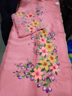 Wtsapp at 9653820002 to know more - Diy Fabric Colour Painting, Fabric Painting On Clothes, Painted Clothes, Fabric Art, Saree Painting, Dress Painting, Painting Art, Embroidery Suits Design, Hand Embroidery Designs