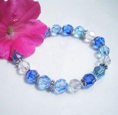 Sapphire Swarovski Crystal Bracelet Beaded Lt by MagdaleneJewels @magdalenejewels