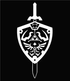 The Legend of Zelda Hyrule Shield Vinyl Die Cut Decal Sticker - Texas Die Cuts - Logos Zelda Wallpaper, Wall Sticker, Vinyl Decals, Vinyl Art, Video Game Symbols, Legend Of Zelda Tattoos, Shield Tattoo, Silhouette Cameo Projects, Pyrography
