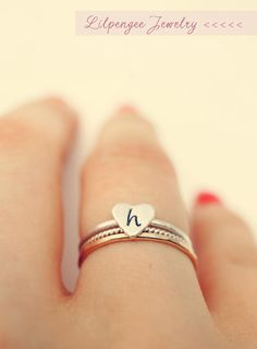 initially SET - initial heart ring. monogram ring. heart ring. personalized stacking ring SET.