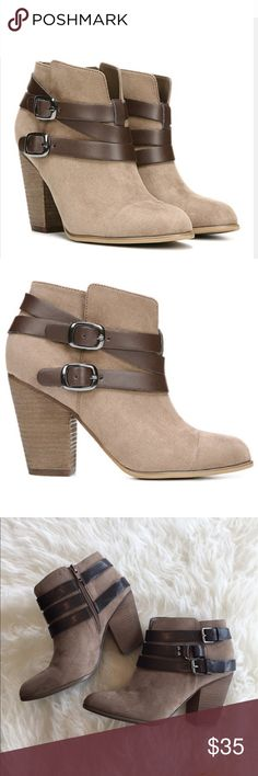 """Carlos Santana Helene Booties Faux suede boots with a trip of buckle accented straps. Side zip. In good used condition- small scrape/rub mark as seen in pic. 3.75"""" heel. Carlos Santana Shoes Ankle Boots & Booties"""