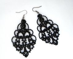 Christmas gift Black Earrings with black by TattingLaceJewellery