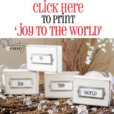 Joy to the world printable and distressed placeholder wood block DIY