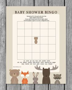 Printable Baby Shower Bingo Game - Woodland Animal Theme Bingo Baby Shower, Fotos Baby Shower, Regalo Baby Shower, Baby Shower Checklist, Fiesta Baby Shower, Baby Girl Shower Themes, Baby Shower Printables, Baby Bingo, Shower Party