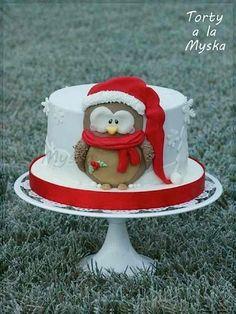 Xmas coming, christmas owl cake Christmas Themed Cake, Christmas Cake Designs, Christmas Cake Topper, Christmas Cake Decorations, Holiday Cakes, Noel Christmas, Christmas Treats, Christmas Baking, Christmas Cakes