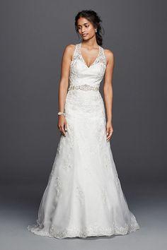 9846a06c6fa75 Jewel Lace Wedding Dress with Halter Neckline | David's Bridal Bridal  Dresses, Wedding Dresses Photos