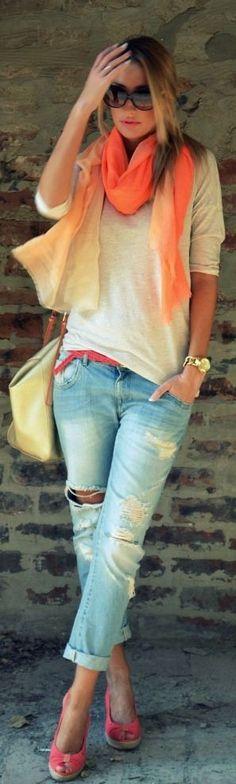 Jeans + salmon