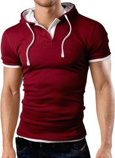 Grin&Bear Men's Hooded Poloshirt, burgundy, S, GB105