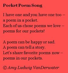 Poetry and lessons for children of all ages by Amy Ludwig VanDerwater for classrooms or homeschools to teach literacy and writing workshop instruction Writing Workshop, Storytelling, Literacy, Amy, Poems, Singing, Classroom, Teaching, Pocket