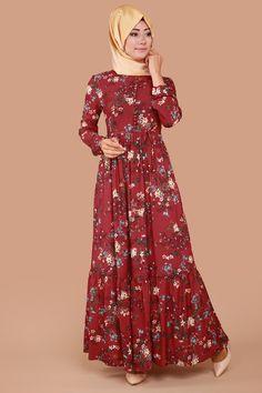 Aksesuar Düğmeli Bağcıklı Elbise Bordo Ürün kodu: OBN342 --> 69.90 TL