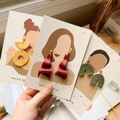 I was planning on saving this post until tomorrow, but I AM TOO EXCITED. New earring cards have come in thanks to having the fastest… Diy Y Manualidades, Diy And Crafts, Paper Crafts, Diy Clay Earrings, Earring Cards, Polymer Clay Crafts, Polymer Clay Jewelry, Jewelry Packaging, Clothing Packaging