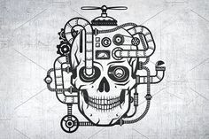Steampunk Skull by DreamBikeShop on @creativemarket