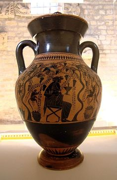Two-handled vase with Dionysus with satyrs in a vineyard. Attic black-figure amphora attributed to the Priam Painter. Museo Nazionale di Villa Giulia.