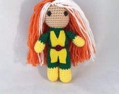 Rogue amigurumi crochet figure from Marvel and X-Men