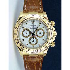 Rolex Cosmograph Daytona Yellow Gold White Arabic Tan Leather Strap 116518 Rehaut