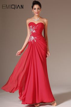 Free Shipping New Red Strapless Sweetheart Lace Appliques Prom Gown Dresses #Affiliate