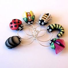 polymer clay wine charms :D