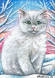 White Cat Kitten Portrait Xmas Winter Snow Original Art 5x7 Painting by MARTA