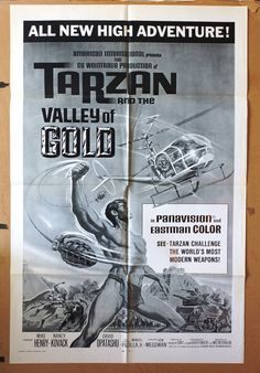 """Movie Poster  """"Tarzan and The Valley of Gold"""" - Original 1966 Movie Poster One-Sheet    RARE! by MoviePostersAndMore on Etsy"""