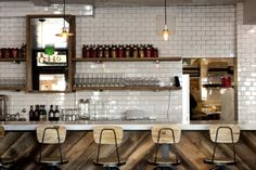 Gioia Pizzeria SF - bar/ vintage lighting Wow very similar to what I am doing with my kitchen. Reclaimed wood and open shelving. Wood Bar Stools, Bar Chairs, Wood Chairs, Pizzeria Trattoria, Cafe Interior, Interior Design, Reclaimed Wood Bars, Restaurant Design, Restaurant Interiors