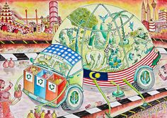 "Gold Winner Lim Xin Ying years old, Malaysia) explains about her drawing ""Conservation Environment Car"" : ""A car that conserves our environment and protects animals so that they will not extinct. Artists For Kids, Art For Kids, Save Environment Poster Drawing, Diwali Greetings Images, Toyota, Art Competitions, Car Drawings, Dream Art, Environmental Art"