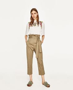 ZARA - WOMAN - DOTTED MESH BLOUSE WITH FLORAL EMBROIDERY