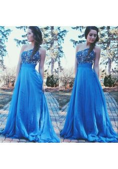 >> Click to Buy << Blue Chiffon Evening Dress Long Formal One Shoulder Beaded Lace Elegant Girls Evening Wear Long Sweep Train A-line Evening Party #Affiliate