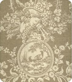 natural toile @Lewis & Sheron Atlanta,  This is a neutral version of an old Waverly pattern.