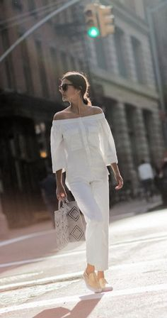 all white summer look with slip on sneakers and off-the-shoulders blouse