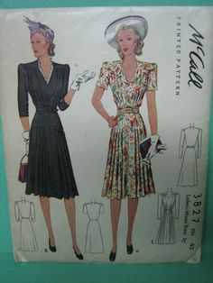 1940s Dress Pattern McCall 3827, year 1940 by TheTenderTrap, early 1940s fashion