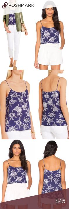 """NWOT Equipment Cara Printed Washed Silk Camisole By Equipment. New without tags attached. Xsmall runs true to size and is meant for looser fit. Lightweight non-stretch 100% Silk Camisole.  Adjustable straps. Designer color names- bright white & ultra marine (navy).  16.5"""" length, 38"""" waist, & 36"""" bust. Hand wash or dry clean. Imported.  Navy & white washed silk. Model with blonde hair is 5'9"""" wearing xsmall for reference. Sold out in most stores. Equipment Tops Camisoles"""