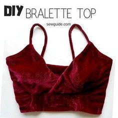 Comment coudre un haut en bralette - Art Design Sewing Projects For Beginners, Sewing Tutorials, Sewing Hacks, Sewing Tips, Sewing Crafts, Diy Bralette, Bralette Tops, Satin Bralette, Sewing Patterns Free