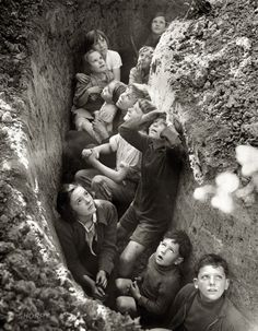 """Battle of Britain. Children in an English bomb shelter.""  England, 1940-41  From British Information Service/U.S. Office of War Information  Thanks to Shorpy Historic Photo Archive - View full size"