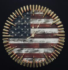 Bullet Clock on Target with Inert Ammo. Great gift for shooters, hunters, military, man cave, gun gift Bullet Clock on Target with Inert Ammo. Great gift for Diy Wood Projects, Wood Crafts, Woodworking Projects, Diy And Crafts, Ammo Crafts, Diy Projects For Men, Woodworking Plans, Popular Woodworking, Woodworking Furniture