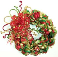 """33"""" Red, Green, Gold & Lime Green Striped, Polka Dot, Whimsical, Christmas Holiday Wreath on Etsy, $65.00 by regina"""