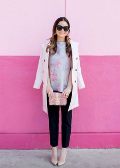 Jennifer Lake Style Charade in a Banana Republic pink trench coat, Avery pants, BaubleBar pink fringe earrings, and a pink tweed bag in Austin Texas