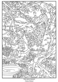 Color Your Own Great Fairy Tale Illustrations Free Coloring Page Printables Dover Publications Frog Princess Intricate Design