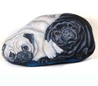 HAND PAINTED ROCK.Dogs portraits on stone.