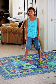 """Tess and her new """"Aqua Blue Quilt"""" by Quiltsalad, via Flickr"""