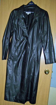 Womans Black Leather Long Dress Coat Overcoat Size Med Coat By Giovanni #Giovanni #Trench #Casual