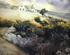 Art print of Gorse on Pembrokeshire coast path. Copy of watercolour by Helen Lush. x Welsh landscape. Landscape Walls, Watercolor Landscape, Landscape Paintings, Watercolor Art, Landscapes, Buy Paintings Online, Online Painting, Pembrokeshire Coast Path, Countryside