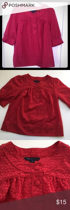French Connection Blouse Top Red Semi Sheer Button Career or casual Top, wear with a blazer & pants or jeans for a casual look, bottoms for decoration, semi sheer material- see photo in light, geometric print, measurements in pictures. French Connection Tops Blouses