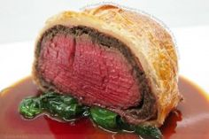 Perfectly Cooked, Succulent Beef Wellington w/ Buttery Sauteed Spinach & Port Wine Reduction
