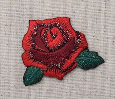 "Red Rose Flower Iron on Applique High quality, detailed embroidery applique. Can be sewn or ironed on. Great for hats, bags, clothing, and more! Size is approx. 1-7/8"" x 1-1/2"" or 4.76cm x 3.81cm"