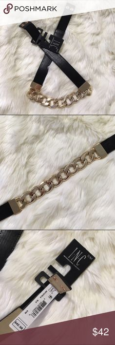 I.N.C Gold Chain Belt Lots of elastic stretch. Two button closure on the back. Brand-new in original packaging. No scratches. (50) INC International Concepts Accessories Belts