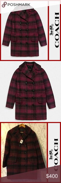 NWT! COACH Dark Cranberry Wool Plaid Pea Coat M • name brand: COACH • style # F86235 EJF M Dark Cranberry  •design: Plaid Long Wool Peacoat • condition: NWT! New With Tags! Flawless! • size: Medium  • details: double breasted button down, long sleeves, extremely soft! • colors: Maroon & Black • material: Shell: 57% Acrylic 35% Wool 8%  Alpaca. Body Lining: 100% Polyester • This peacoat is Beautiful & Classy! • Great for gift! • Perfect for your winter closet! Coach Jackets & Coats Pea Coats